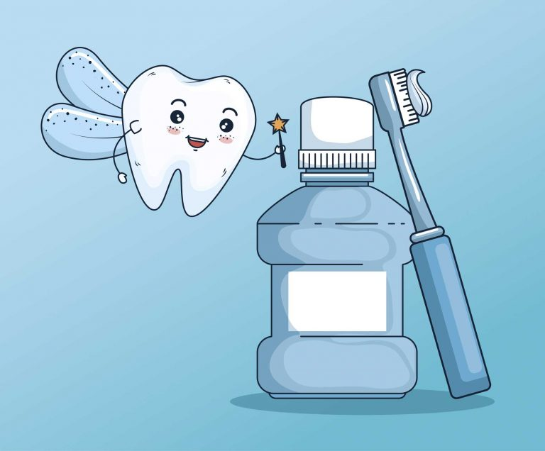 illustration of the tooth fairy with mouthwash and toothbrush tool